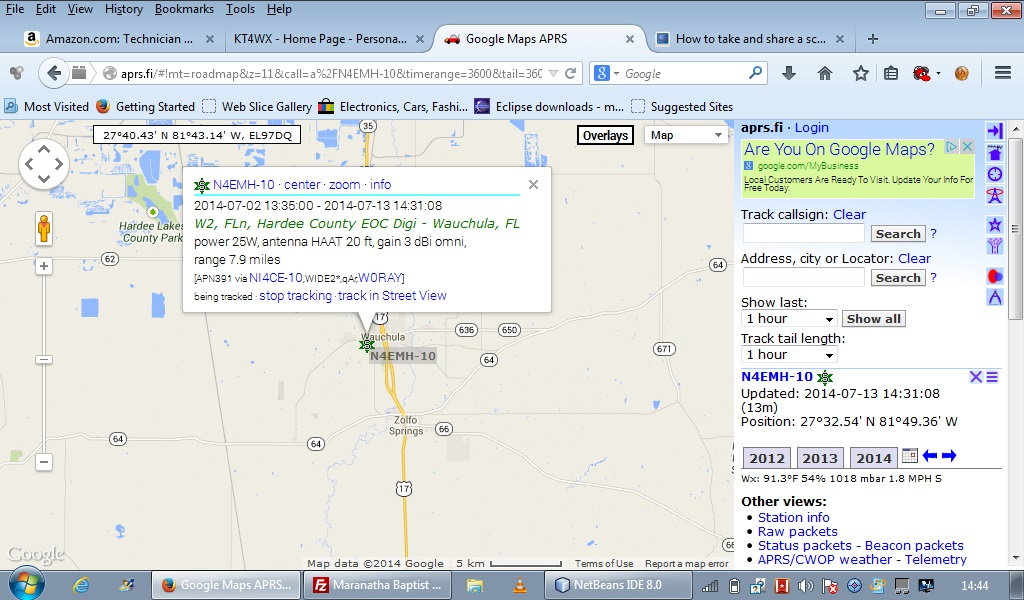 Image of APRS Map with N4EMH-10 position.